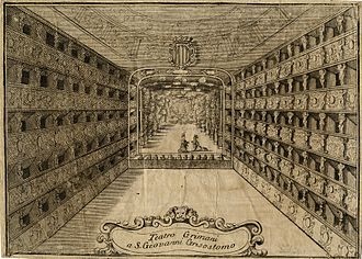 Teatro Malibran - Internal view of the Teatro Grimani a San Giovanni Grisostomo of 1709. Engraving by Vincenzo Maria Coronelli