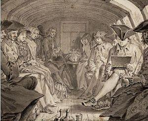 Trekschuit - Drawing of interior of a trekschuit on the Haarlemmertrekvaart in 1760.