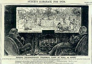 "History of videotelephony - ""Fiction becomes fact"": Imaginary ""Edison"" combination videophone-television, conceptualized by George du Maurier and published in ''Punch''. The drawing also depicts then-contemporary speaking tubes, used by the parents in the foreground and their daughter on the viewing display (1878)"