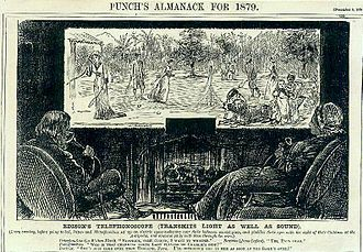 """History of videotelephony - """"Fiction becomes fact"""": Imaginary """"Edison"""" combination videophone-television, conceptualized by George du Maurier and published in Punch. The drawing also depicts then-contemporary speaking tubes, used by the parents in the foreground and their daughter on the viewing display (1878)."""