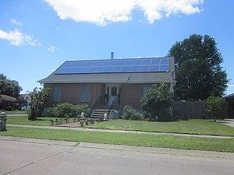 Solar power in Louisiana - Solar panels on a house in Terrytown, Louisiana