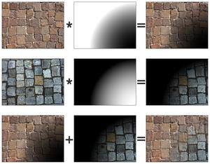 Texture splatting - Example of texture splatting.