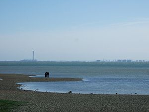 Westcliff-on-Sea - View south-east over the Thames Estuary to the Isle of Grain, Kent from the shore at Westcliff-On-Sea