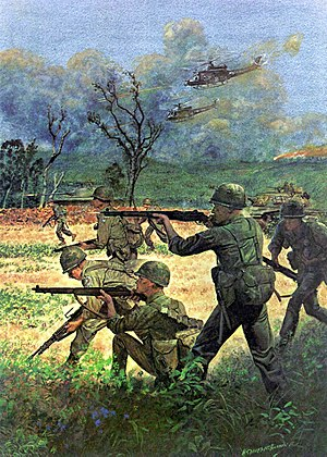 Republic of Korea Army - A U.S. Army drawing showing ROKA soldiers fighting in the Vietnam War in 1966