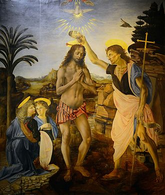 Usage of two Hands of God (relatively unusual) and the Holy Spirit as a dove in Baptism of Christ by Verrocchio and Leonardo da Vinci, c. 1472-1475. The Baptism of Christ (Verrocchio & Leonardo).jpg