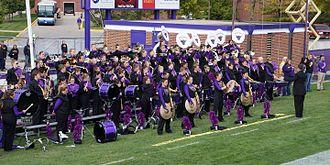 Minnesota State University Marching Band - The Maverick Machine playing at a home football game at Blakeslee Stadium