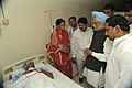 The Prime Minister, Dr. Manmohan Singh meets the bomb blast victims, at Omni Hospital, in Hyderabad on February 24, 2013. The Chief Minister of Hyderabad, Shri Kiran Kumar Reddy is also seen.jpg