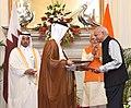 The Prime Minister, Shri Narendra Modi and the Prime Minister of Qatar, Sheikh Abdullah bin Nasser bin Khalifa Al Thani witnessing the exchange of agreements, at Hyderabad House, in New Delhi on December 03, 2016 (1).jpg
