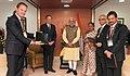 The Prime Minister, Shri Narendra Modi meeting the President of World Bank, Mr. Jim Yong Kim, in Gandhinagar, Gujarat on January 11, 2015. The Chief Minister of Gujarat, Smt. Anandiben Patel is also seen.jpg