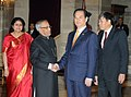 The Prime Minister of Vietnam, Mr. Nguyen Tan Dung meeting the President, Shri Pranab Mukherjee on the sidelines of the ASEAN-India Commemorative Summit, 2012, at Rashtrapati Bhavan, in New Delhi on December 20, 2012.jpg