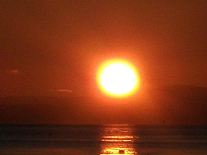 Position of the Sun - The Sun seen from Lamlash (55° 31′ 47.43″ N, 5° 05′ 59.77″ W) on 3 January 2010, at 8:53 a.m., local time