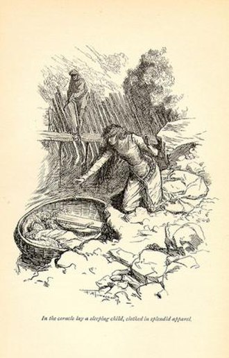 The Misfortunes of Elphin - Angharad and Elphin find the baby Taliesin in a coracle.  Illustration by F. H. Townsend (1897).