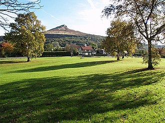Newton under Roseberry - The village green at Newton under Roseberry with Roseberry Topping in the distance