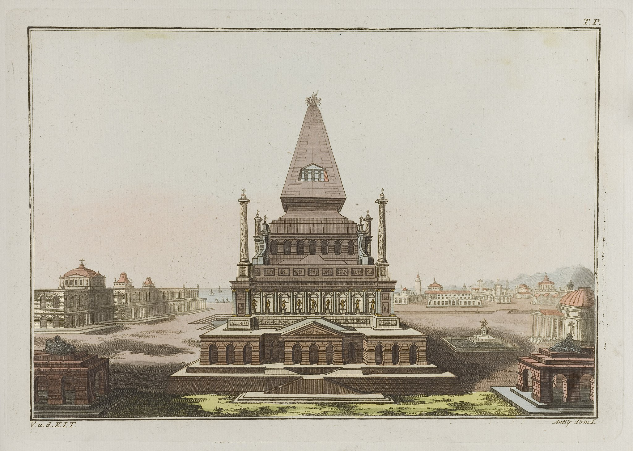 The tomb of Mausolus at Halicarnassus. Coloured engraving, Wellcome L0047677