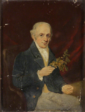 Thomas Andrew Knight - Portrait of Thomas Andrew Knight, holding an Oak branch, dated January 1837, by Edmund Ward Gill (1794–1868), Hereford Museum and Art Gallery