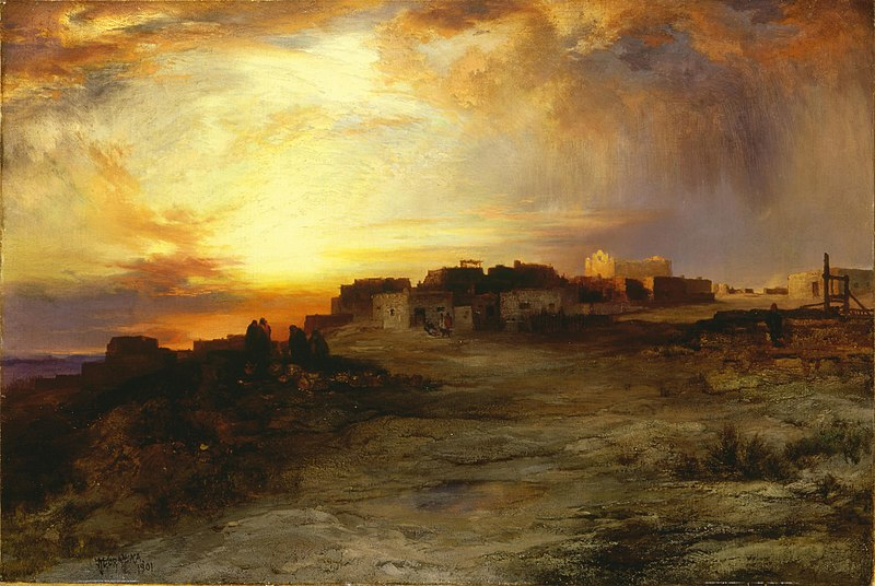 File:Thomas Moran - Pueblo at Sunset (1901).jpg