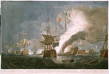 Coloured print of a naval battle between sailing ships. A single ship seen bow on in the centre, a cluster of ships in the left background, and a large ship on fire in the centre background. Two ships to the right, one without masts seen side on, and one seen stern on, are visible, with a column of smoke rising from the burning ship to the top of the picture.
