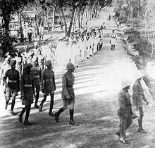 Battaglione di marines italiani marciano a Tientsin