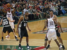 9f1e040ab Duncan defending in the key against the Milwaukee Bucks in 2008
