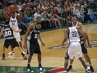 Tim Duncan - Duncan defending in the key against the Milwaukee Bucks in 2008