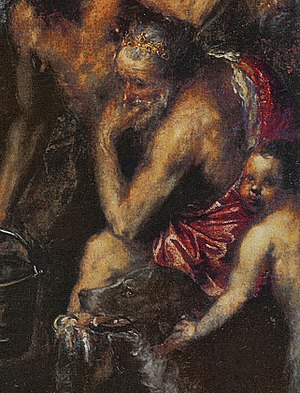 Flaying of Marsyas (Titian) - Detail with Midas