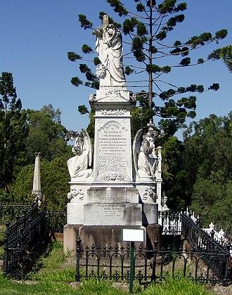 Thomas Joseph Byrnes - Monument at the burial site of Thomas Joseph Byrnes at Brisbane's Toowong Cemetery.