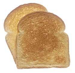 Two pieces of toasted white bread.