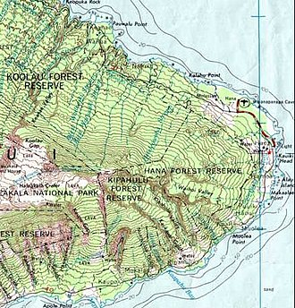 Elevation - Part of a topographic map of Haleakala (Hawaii), showing elevation.