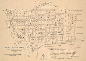 History of neighbourhoods in Toronto - An 1837 planned extension of the New Town, showing the area west of Peter Street to Garrison Creek at Niagara Road.