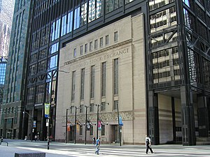 Toronto Stock Exchange - The Art Deco façade of the former Toronto Stock Exchange building, now incorporated into the Toronto-Dominion Centre. Frieze by artist Charles Comfort.