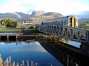 West Highland Line - Train crossing bridge at Banavie