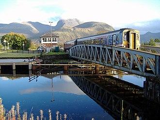 West Highland Line - Train crossing bridge at Banavie