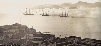 Brazilian Navy - Ships of the Imperial Navy in training, Guanabara Bay, Rio de Janeiro, 1870s.