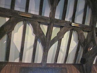Wind brace - Trelystan Church, Montgomeryshire. Decorative arched wind braces between purlins- 15th-16th century