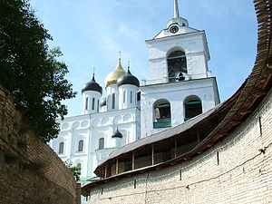 Trinity Cathedral in Pskov - from the Zakhab of the Pskov Kremlin.