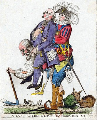 A French political cartoon of the three orders of feudal society (1789). The rural third estate carries the clergy and the nobility. Troisordres.jpg