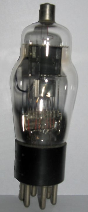 Tube socket - Tube 75 from the 1930s with UX-6 base and top grid cap