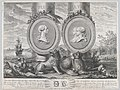 Two bust portraits of Carlos III at left and Carlos IV and Maria Louisa at right in roundels fixed to the columns of Hercules set within a landscape MET DP876093.jpg