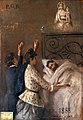 Two women attending a man in bed and appealing to Sansovino' Wellcome V0017432.jpg