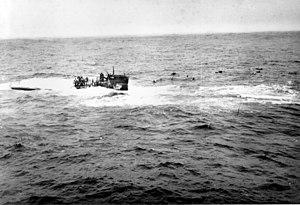German submarine U-550 - Crewmen of U-550 abandon ship