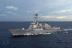 USS Halsey (DDG 97) is underway with the Ticonderoga-class guided-missile cruiser USS Bunker Hill (CG 52) ExMalabar 2012.jpg