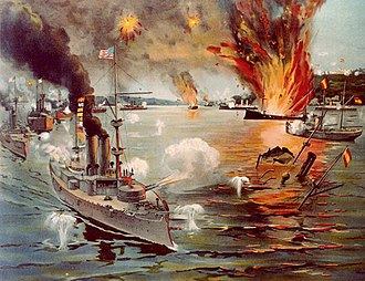 USS Concord (PG-3) - Concord participated in the Battle of Manila Bay, depicted here in a contemporary color print.