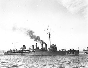 USS Percival (DD-298) underway during the middle or later 1920s (NH 42899)