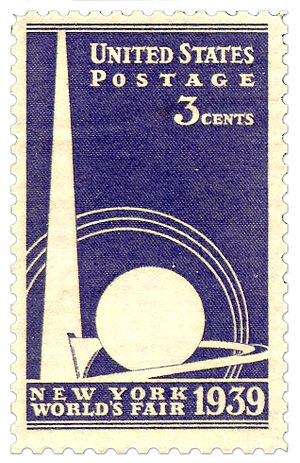 Trylon and Perisphere - Trylon and Perisphere on US stamp from 1939.