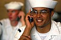 US Navy 040723-N-9742R-051 Sailors speak to family members following the return of USS Enterprise (CVN 65), to Naval Station Norfolk after participating in Summer Pulse 2004.jpg