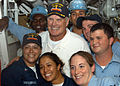 US Navy 040902-N-3019M-011 National Football League (NFL) Hall of Fame quarterback Terry Bradshaw poses with Sailors during a visit aboard the guided missile cruiser USS Port Royal (CG 73).jpg