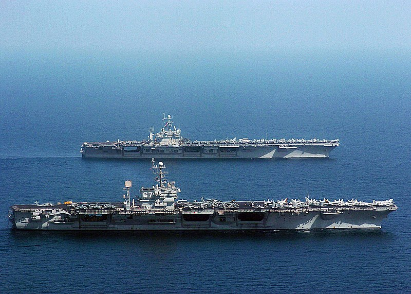 File:US Navy 041120-N-4308O-141 The conventional aircraft carrier USS John F. Kennedy (CV 67) is relieved by the Nimitz-class aircraft carrier USS Harry S. Truman (CVN 75).jpg
