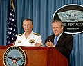 US Navy 050823-D-2987S-102 Secretary of Defense Donald H. Rumsfeld responds to a reporter's question during an operational press briefing with Vice Chairman Joint Chiefs of Staff Adm. Edmund Giambastiani.jpg