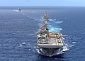 US Navy 070501-N-5822P-117 Amphibious assault ship USS Bonhomme Richard (LHD 6) leads a formation of ships during a photo exercise near Guam.jpg