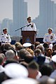 US Navy 070622-N-8158F-190 Commander, Naval Air Forces, Vice Adm. James M. Zortman delivers his final remarks before passing the torch to Vice Adm. Thomas J. Kilcline Jr. during an official change of command ceremony.jpg